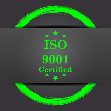 certify: ISO9001 icon. Internet button with green on grey background.
