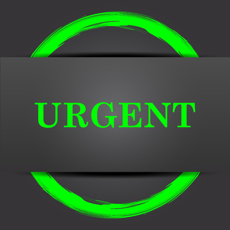 urgent: Urgent icon. Internet button with green on grey background.