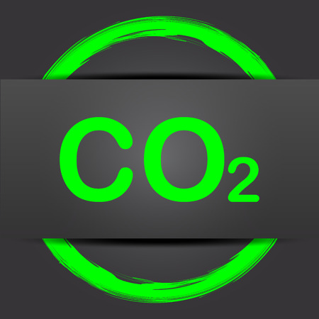 co2: CO2 icon. Internet button with green on grey background.