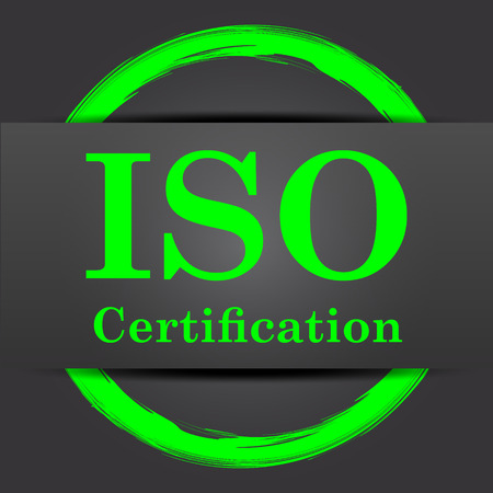 certificated: ISO certification icon. Internet button with green on grey background. Stock Photo
