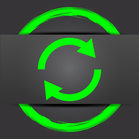 two arrows: Reload two arrows icon. Internet button with green on grey background.