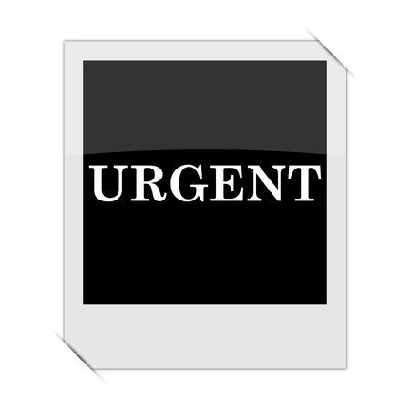 promptness: Urgent icon within a photo on white background