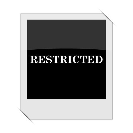 restricted: Restricted icon within a photo on white background Stock Photo
