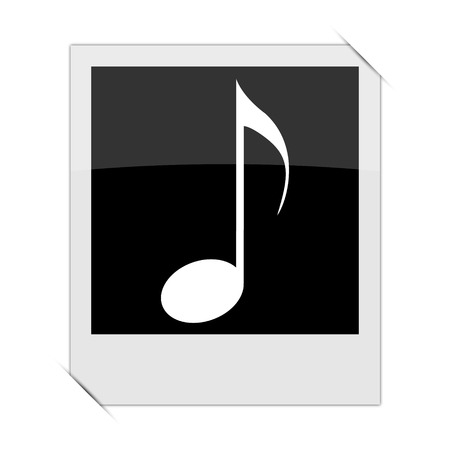 melodic: Musical note icon within a photo on white background Stock Photo