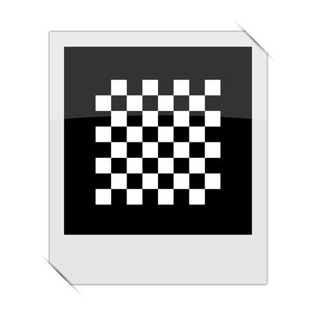 finish flag: Finish flag icon within a photo on white background