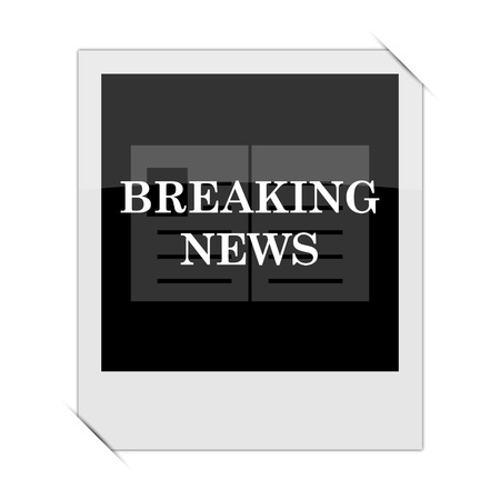 newscast: Breaking news icon within a photo on white background Stock Photo