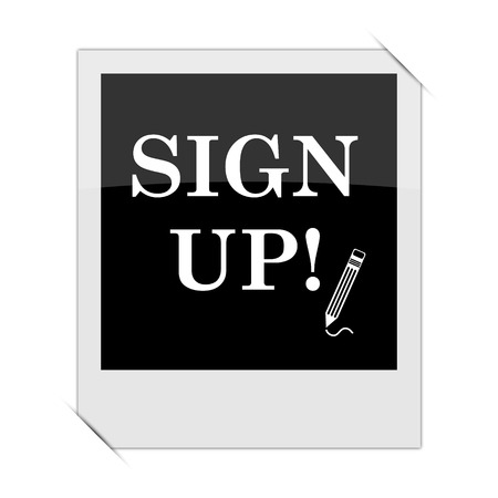 sign up icon: Sign up icon within a photo on white background Stock Photo