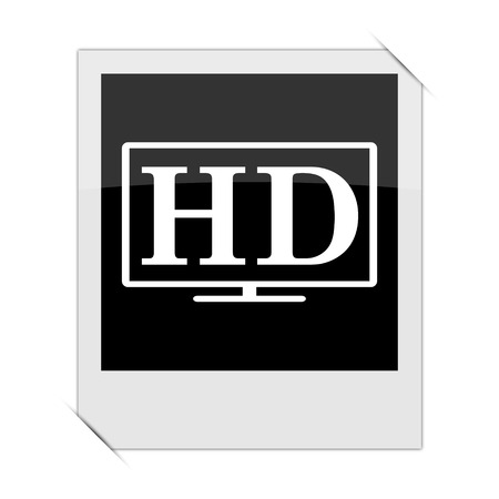 hd tv: HD TV icon within a photo on white background Stock Photo
