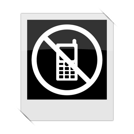 use regulations: Mobile phone restricted icon within a photo on white background