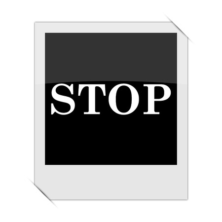 running off: Stop icon within a photo on white background