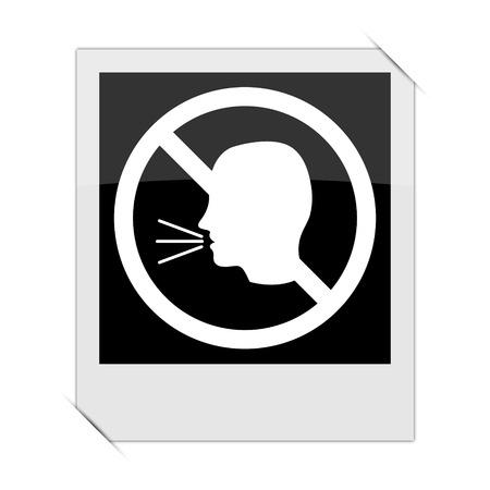 noisily: No talking icon within a photo on white background