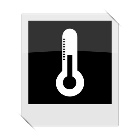 growth hot: Thermometer icon within a photo on white background