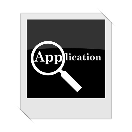requisition: Application icon within a photo on white background Stock Photo