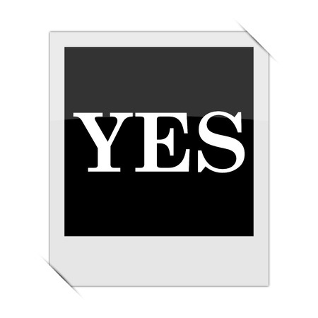 yea: Yes icon within a photo on white background