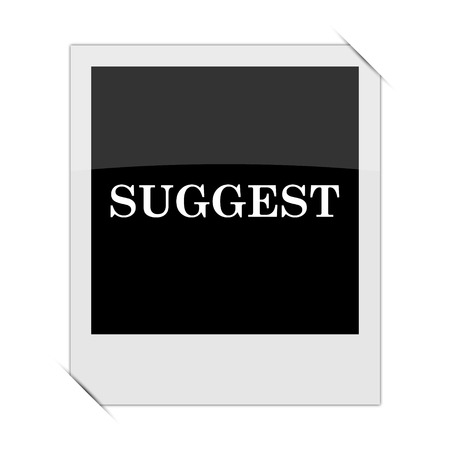 suggest: Suggest icon within a photo on white background