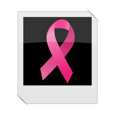 cancer ribbon: Breast cancer ribbon icon within a photo on white background Stock Photo