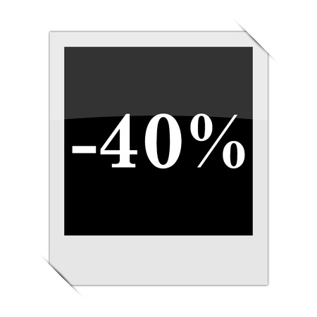 rebate: 40 percent discount icon within a photo on white background