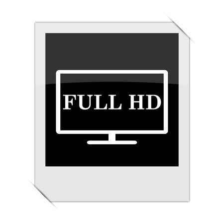 hd: Full HD icon within a photo on white background Stock Photo