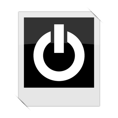 power within: Power button icon within a photo on white background Stock Photo