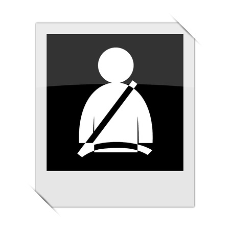 precautions: Safety belt icon within a photo on white background