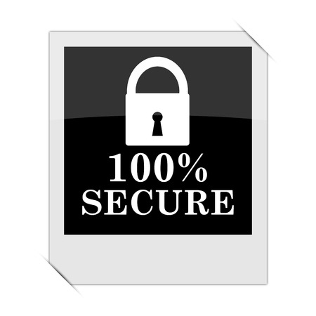 trusty: 100 percent secure icon within a photo on white background Stock Photo