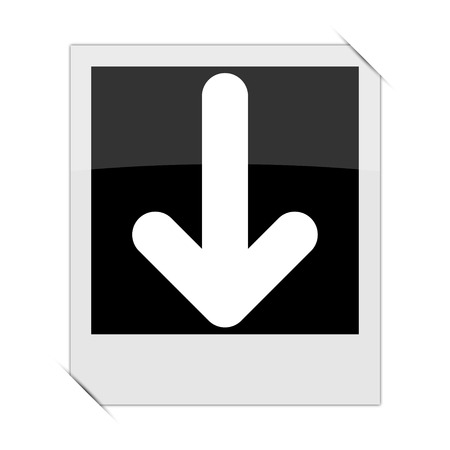 moving site: Down arrow icon within a photo on white background