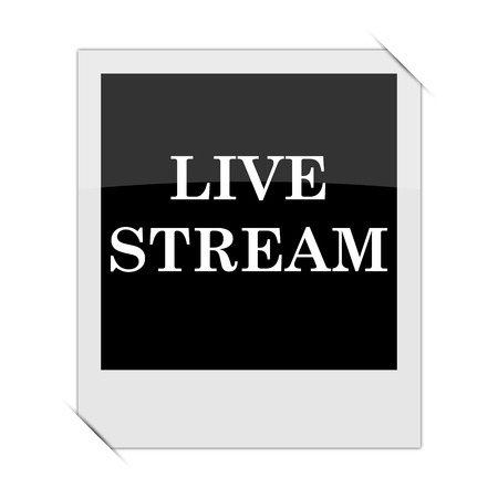 news cast: Live stream icon within a photo on white background