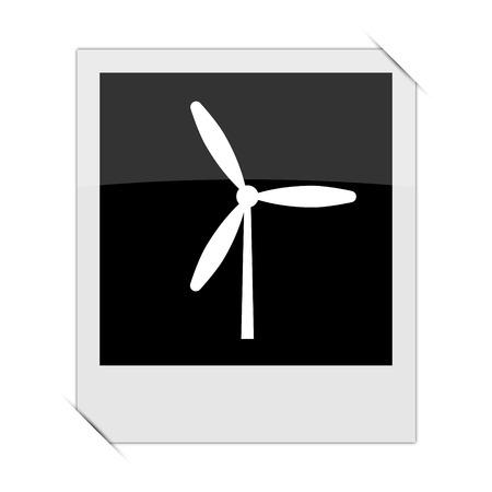 alternate: Windmill icon within a photo on white background Stock Photo