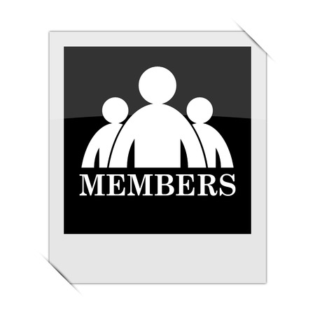 private club: Members icon within a photo on white background
