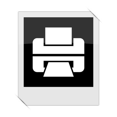 photo printer: Printer icon within a photo on white background