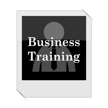 idea hurdle: Business training icon within a photo on white background
