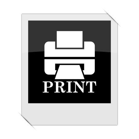 photo printer: Printer with word PRINT icon within a photo on white background