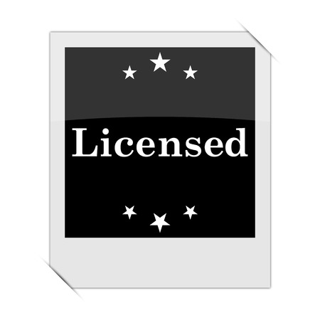 licensed: Licensed icon within a photo on white background