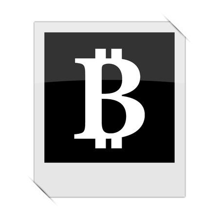 p2p: Bitcoin icon within a photo on white background