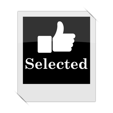 selected: Selected icon within a photo on white background Stock Photo