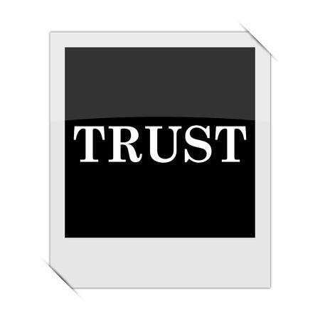 trust icon: Trust icon within a photo on white background Stock Photo