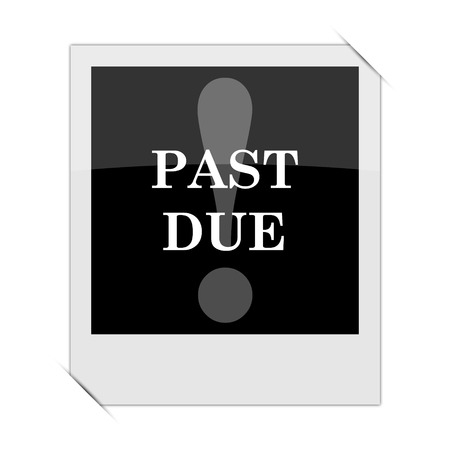 past: Past due icon within a photo on white background