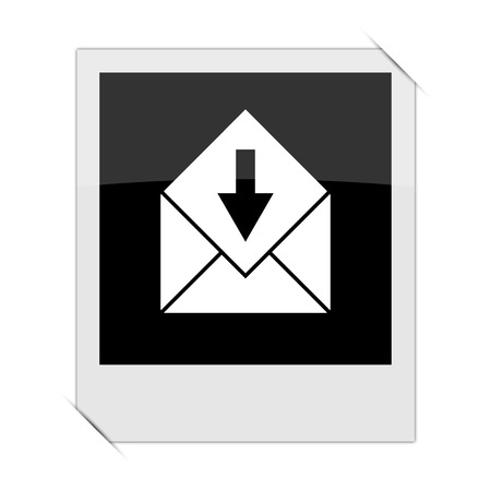 outlook: Receive e-mail icon within a photo on white background Stock Photo