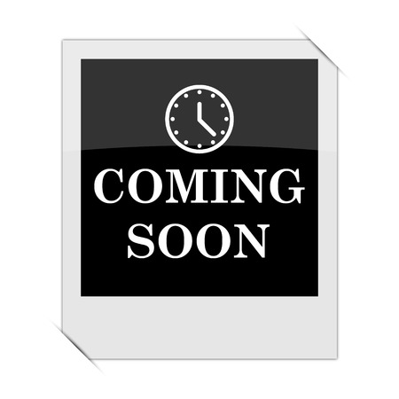 Coming soon icon within a photo on white background