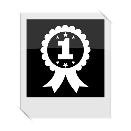 the first prize: First prize ribbon icon within a photo on white background