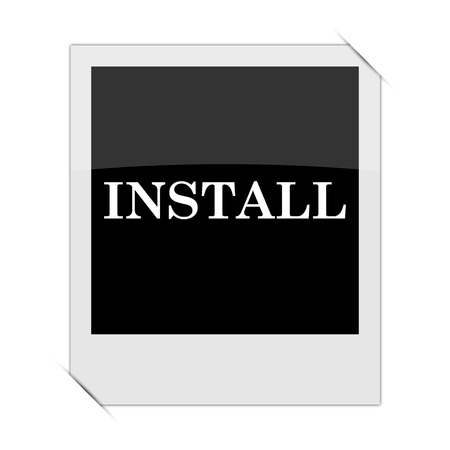 operative system: Install icon within a photo on white background Stock Photo