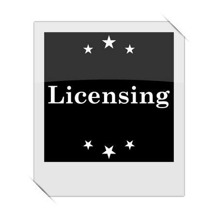 licensing: Licensing icon within a photo on white background
