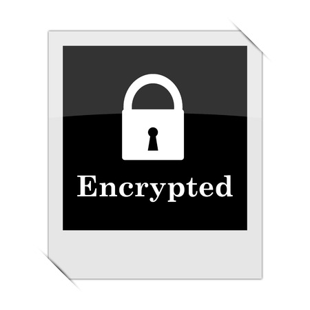 encrypted: Encrypted icon within a photo on white background Stock Photo