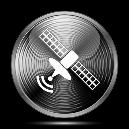 world receiver: Satellite icon. Internet button on black background.
