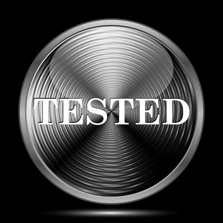 tested: Tested icon. Internet button on black background.