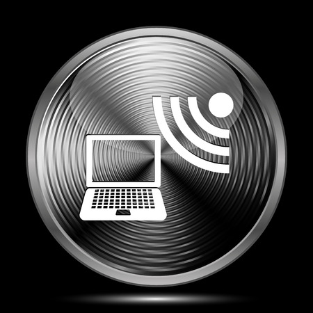 wi: Wireless laptop icon. Internet button on black background.