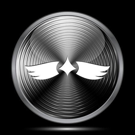 migrating: Wings icon. Internet button on black background. Stock Photo