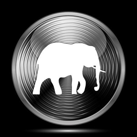 endanger: Elephant icon. Internet button on black background.