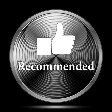 recommendations: Recommended icon. Internet button on black background. Stock Photo