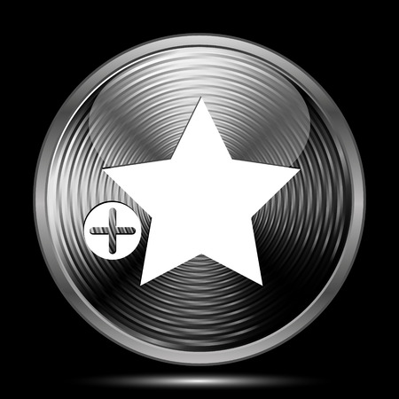 Add to favorites icon. Internet button on black background.